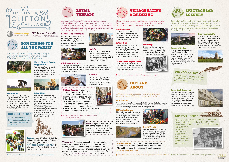Discover Clifton Map Leaflet inside
